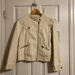 Forever 21 Girls White Faux Leather Biker Jacket